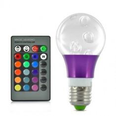 Bec cu LED-uri Cristal 3W RGB 16 Culori, 270 Lumeni, cu Telecomanda