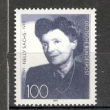 Germania.1991 100 ani nastere N.Sachs-poet PREMIUL NOBEL SG.717 - Timbre straine, Nestampilat