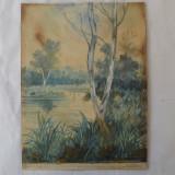 Peisaj acuarela veche - Tablou autor neidentificat, Peisaje, Realism