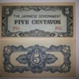 FILIPINE OCUPATIE JAPONEZA JAPONIA 5 CENTAVOS 1942 UNC - bancnota asia