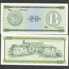 CUBA 20 PESOS 1985 Litera B, ND nedatata UNC [1] P-FX9, necirculata - bancnota america