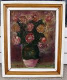 Tablou natura moarta Vas cu trandafiri pictat ulei 26x31 cm, Natura statica, Realism
