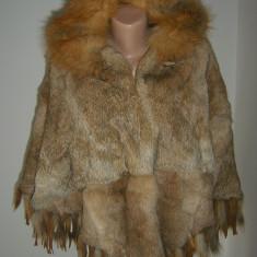 Poncho/ vulpe NICOLA pellicceria retail 3000 euro MEGAPRET, Marime: One size, Culoare: Din imagine