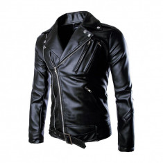 Geaca piele ecologica Biker Black. NEW COLLECTION!!! - Geaca barbati, Marime: XS, S, M, L, Culoare: Negru