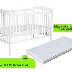 Patut Fara Sertar Klups Radek Iii Alb Cu Saltea Mykids Gryko - Patut lemn pentru bebelusi MyKids, 120x60cm