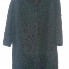 Vand haina lunga de dama din Karakul cu guler de nurca - haina de blana