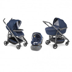 Carucior 3 in 1 Chicco Trio Love, car kit, 0luni+, Blue - Carucior copii 3 in 1