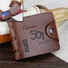 Portofel piele + textil maro Baellerry capsa siguranta foarte incapator - Portofel Barbati, Coffee, Cu inchizatoare