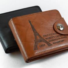 Portofel din piele naturala, pentru barbati, model Turn Eiffel - Portofel Barbati, Maro, Cu inchizatoare