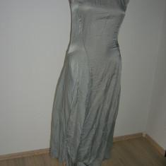 Rochie superba asimetrica, cu matase, EUROPEAN CULTURE brand italian M - Rochie de zi, Marime: M, Culoare: Gri