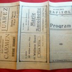 Program Cinema Capitol cu Filmul Serenada Primaverii, interbelic - Pliant Meniu Reclama tiparita