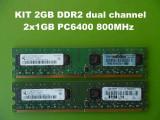 Cumpara ieftin Kit Memorie PC 2 Gb DDR2 (2buc. x 1 Gb) 800 mhz Pc2-6400 Testate L04, DDR 2, Dual channel