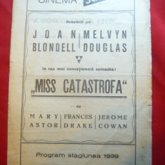 Program Cinema Scala- stagiunea 1939 cu film Miss Catastrofa, cu reclame si rezu - Pliant Meniu Reclama tiparita
