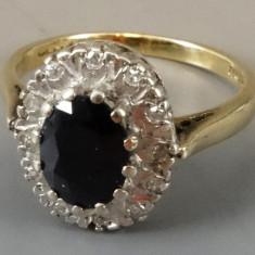 Inel din aur si platina cu safir si diamante - Inel diamant, Carataj aur: 9K, Culoare: Galben, 46 - 56
