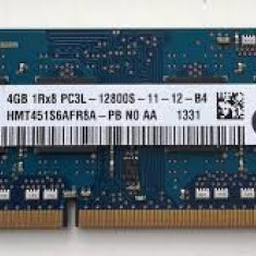 Memorie laptop SODIMM DDR3 sk hynix 4gb 1Rx8 PC3L -12800S-11-12-B2, garantie - Memorie RAM laptop Hynix, 1600 mhz