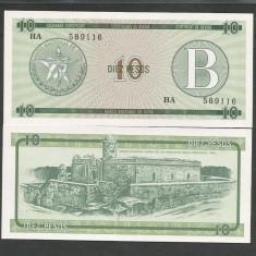 CUBA 10 PESOS 1985 Litera B, ND nedatata UNC [1] P-FX8, necirculata - bancnota america