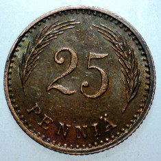 B.965 FINLANDA 25 PENNIA 1943, Europa, Cupru (arama)