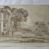 "Claude Lorrain ""Abraham alungand pe Hagar si Ismail"" gravura veche 1734 - Pictor strain, Religie, Cerneala, Realism"