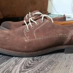 Pantofi Zara maro piele intoarsa Marime 41 (gen derby brogue oxford) - Pantof barbat