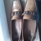 pantofi dama office piele maro bej marimea 40-40.5