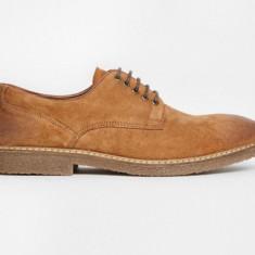 Pantofi ASOS derby piele intoarsa maro, marime 42, ( Brogue oxford ) - Ghete barbati
