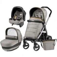 Carucior 3 in 1 Book Plus Black Silver Completo Elite Luxe Grey - Carucior copii 2 in 1 Peg Perego