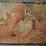 Acuarela veche cca 1800 - Tablou autor neidentificat, Scene gen, Realism