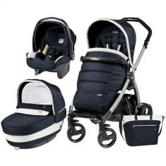 Carucior 3 in 1 Book Plus Black Silver Completo Elite Luxe Blue - Carucior copii 2 in 1 Peg Perego