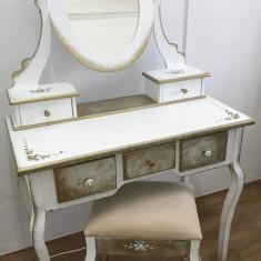 Set Masa toaleta cosmetica machiaj patinata si vopsita manual - Oglinda dormitor