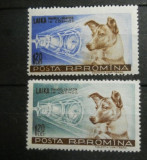 ROMANIA 1957 - CATELUSA LAIKA,PRIMUL CALATOR IN COSMOS, serie MNH, UN97, Nestampilat