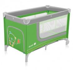 Baby Design Holiday 04 green - patut pliabil cu 2 nivele - Patut pliant bebelusi