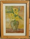 Tablou Zenovia Busuioc Vas cu flori pictat in ulei 29x38cm, Natura statica, Realism