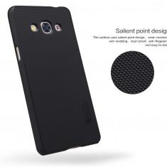 Husa Samsung Galaxy J3 2016 Super Frosted + Folie Protectie Nillkin Neagra - Husa Telefon Samsung, Negru, Plastic, Fara snur, Carcasa