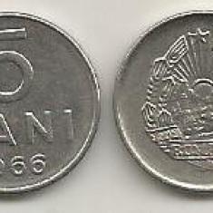 ROMANIA   RSR    5  BANI  1966   [1]  XF  ,   livrare in cartonas