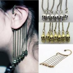 Cercel Punk / Rock Style / Gothic - Model Craniu - Culoare Argintiu - Cercei Fashion