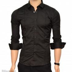 Camasa Neagra Slim Fit cu capse Casual-Eleganta - Camasa bumbac barbati ZR40, L, M, S, XL, Maneca lunga, Bleumarin, Negru