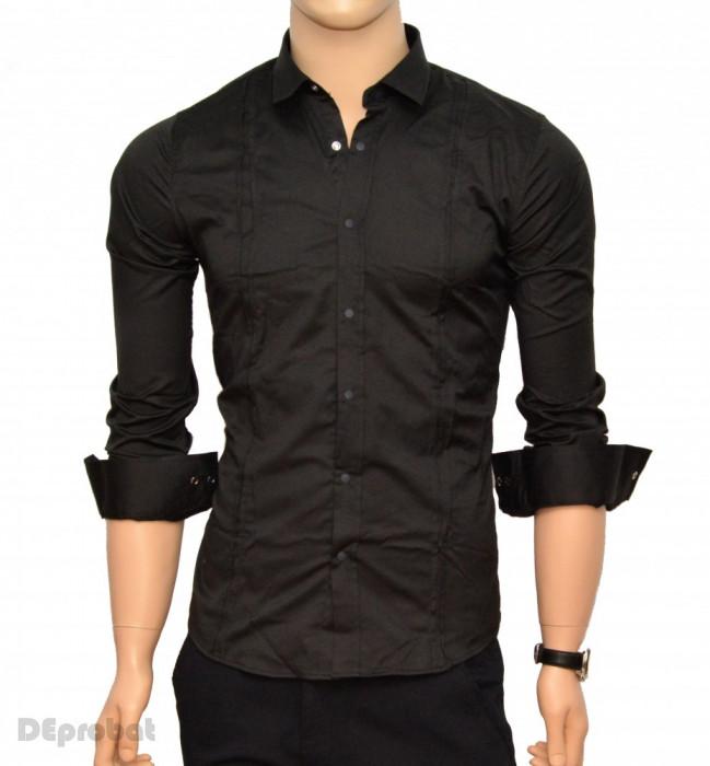 Camasa Neagra Slim Fit cu capse Casual-Eleganta - Camasa bumbac barbati ZR40