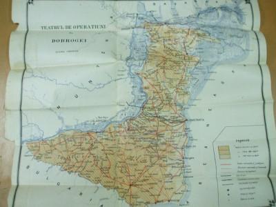 Dobrogea teatrul de operatiuni I. Pavelescu 1914 harta color foto
