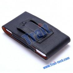 Toc piele prindere curea verticala Iphone 5 5S - Husa Telefon, iPhone 5/5S/SE, Negru