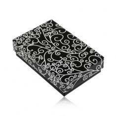 Cutie de cadou pentru colier sau set - în culorile alb-negru, model cu spirale - Cutie Bijuterii