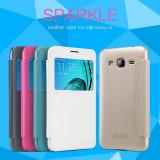 Husa Samsung Galaxy J3 Sparkle Leather by Nillkin Gold, Alt model telefon Samsung, Auriu, Plastic