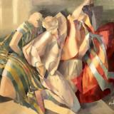 TABLOU, GEORGETA GRABOVSCHI, FLAMENCO, U/P, 100 X 110 CM - Pictor roman