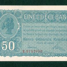 ROMANIA 50 BANI - 1917 NECIRCULATA . BANCA GENERALA ROMANA OCUPATIA GERMANA UNC - Bancnota romaneasca