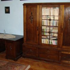 Birou si biblioteca din lemn masiv perioada anilor 1950 - 1960, Art Modern, Dupa 1950