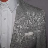 Sacou barbati H&M HM marimea 46 / 48 argintiu model paisley si nasturi metalici, 2 nasturi, Normal
