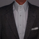 Sacou barbati HUGO BOSS Black Label marimea 48 - 50 lung lana si casmir texturat, Culoare: Gri, 3 nasturi