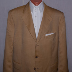Sacou barbati KAISER Design marimea 56 culoarea piersica din lana si matase, 2 nasturi, Marime sacou: 48, Normal