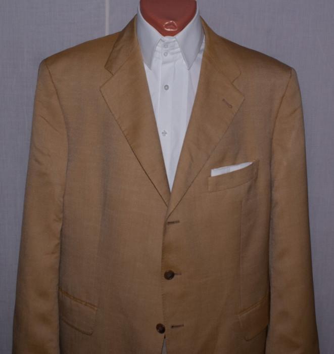 Sacou barbati KAISER Design marimea 56 culoarea piersica din lana si matase foto mare