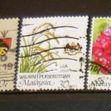 Lot 3 timbre circulate Natura - Flori - Plante MALAYSIA 2+1 gratis RBK20332 - Timbre straine, Stampilat