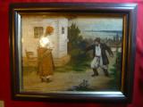 Tablou- Betiv asteptat de nevasta cu bata , semnat E.Karulin ,ulei ,39,7x32 cm, Scene gen, Altul